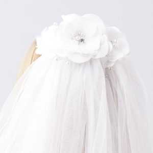 Floral First Communion Comb Veil