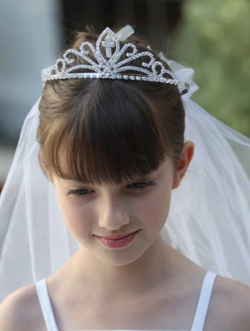 First Communion Cross Tiara Communion Veil