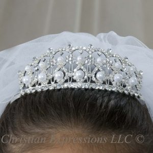 First Communion Crown Headpiece with Large Pearls