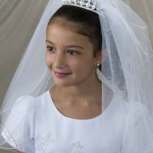 First Communion Crown Tiara with Large Pearls