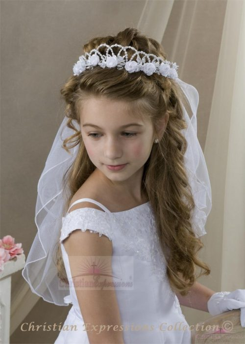 First Communion Crown Veil with Roses