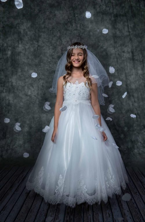 First Communion Dress Illusion V Neck with Lace Hem
