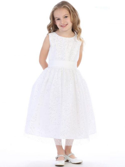 White First Communion Dress with Allover Sequins