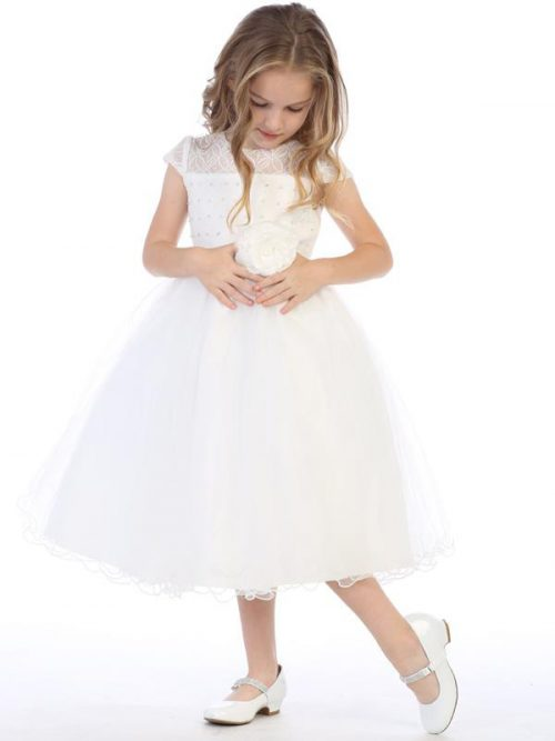 First Communion Dress with Beaded Bodice