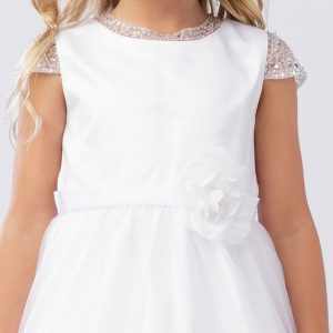 Communion Dress with Beaded Cap Sleeves
