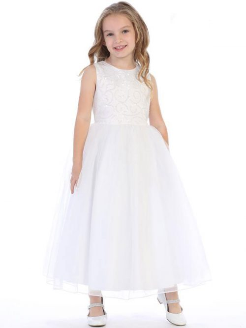 First Communion Dress with Beaded Swirl Bodice