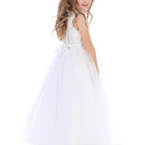 First Communion Dress with Beaded Swirl Bodice Tulle Skirt