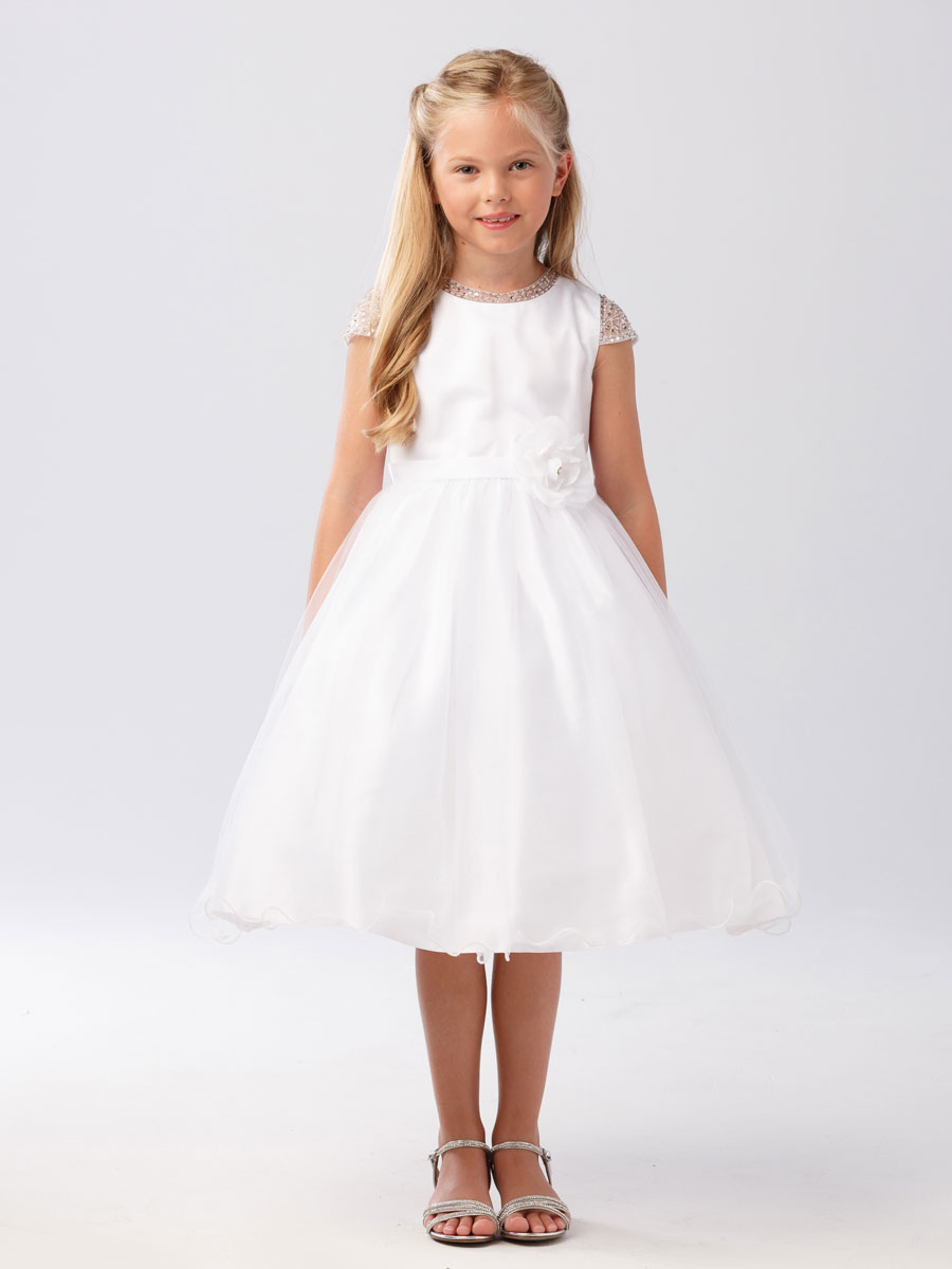 First Communion Dress With Beaded Cap Sleeves First