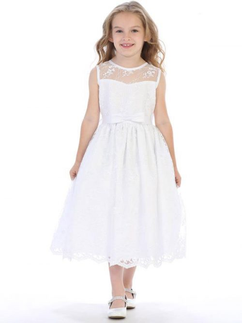 First Communion Dress with Embroidered Tulle