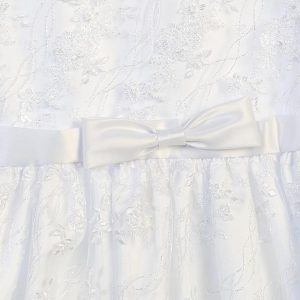 First Communion Dress with Embroidered Tulle Satin Bow