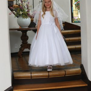 First Communion Dress with Handsewn Beads on Lace