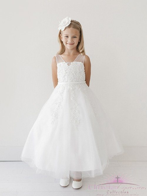 First Communion Dress with Lace Applique Bodice