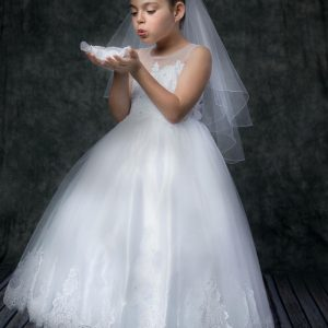 First Communion Dress with Lace Hem