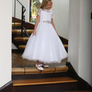 First Communion Dress with Lace Illusion Neckline