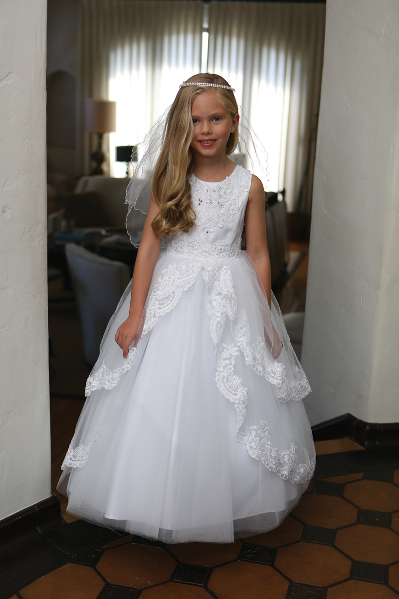 First Communion Dress with Lace Up Corset Back