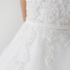 Girls First Communion Dress with Lace Applique Bodice
