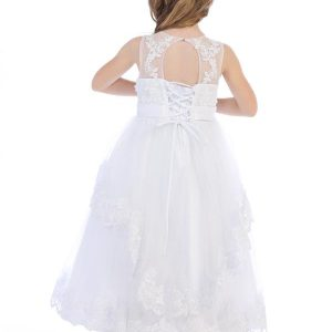 First Communion Dress with Layered Lace and Open Back