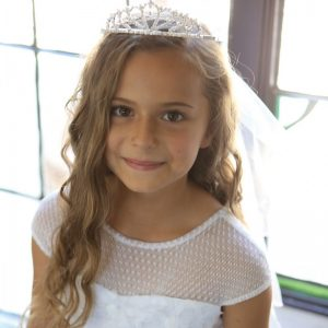 First Communion Dress with Organza Draped Skirt