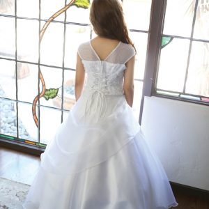 First Communion Dress with Organza Draped Skirt and Corset back