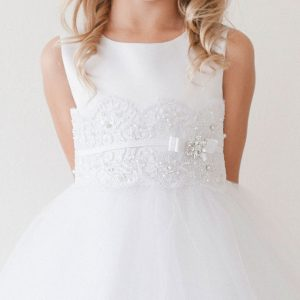 First Communion Dress with Lace and Satin