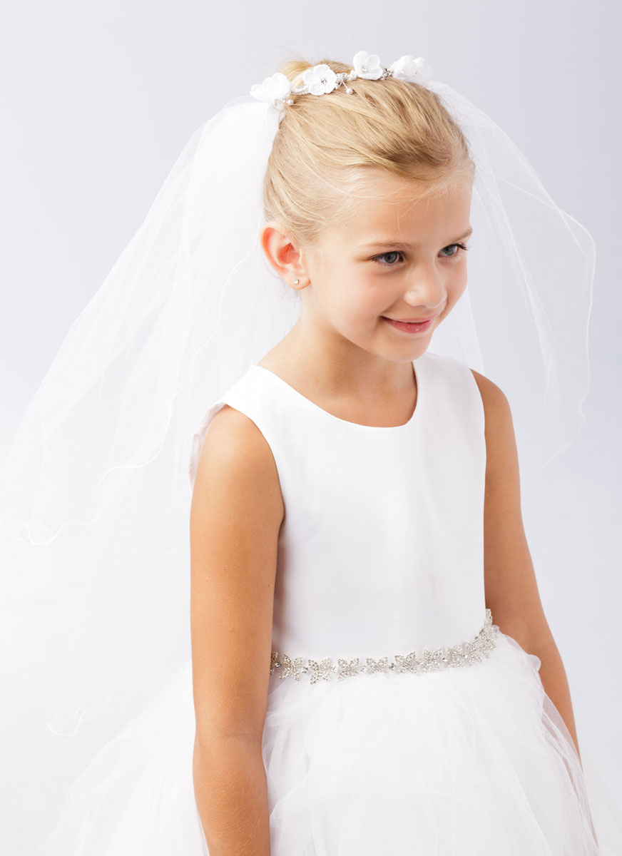 First Communion Bun Wrap Veil with Flowers