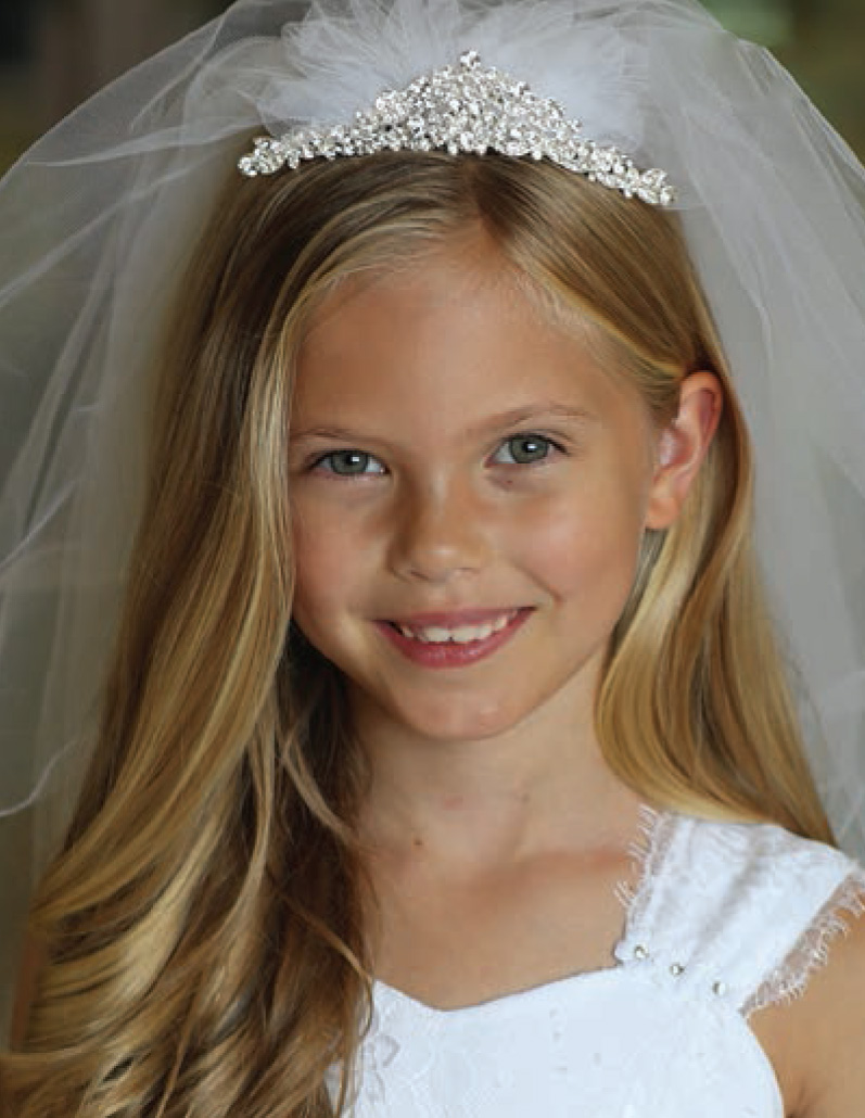 First Communion Rhinestone Headpiece Veil