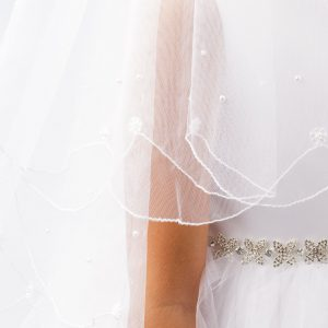 Scalloped Edge Communion Veil with Lace Flower and Pearl Beads
