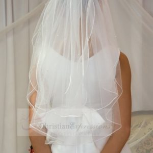 First Communion Veil with Organza Bow