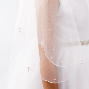 Holy Communion Veil with Pearl Drops Scalloped Edge