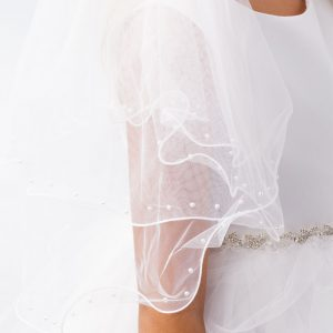 Holy Communion Veil Pearl Accents Ruffled Edge