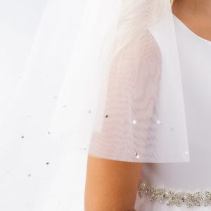 First Communion Veil with Rhinestone Beading Blunt Edge