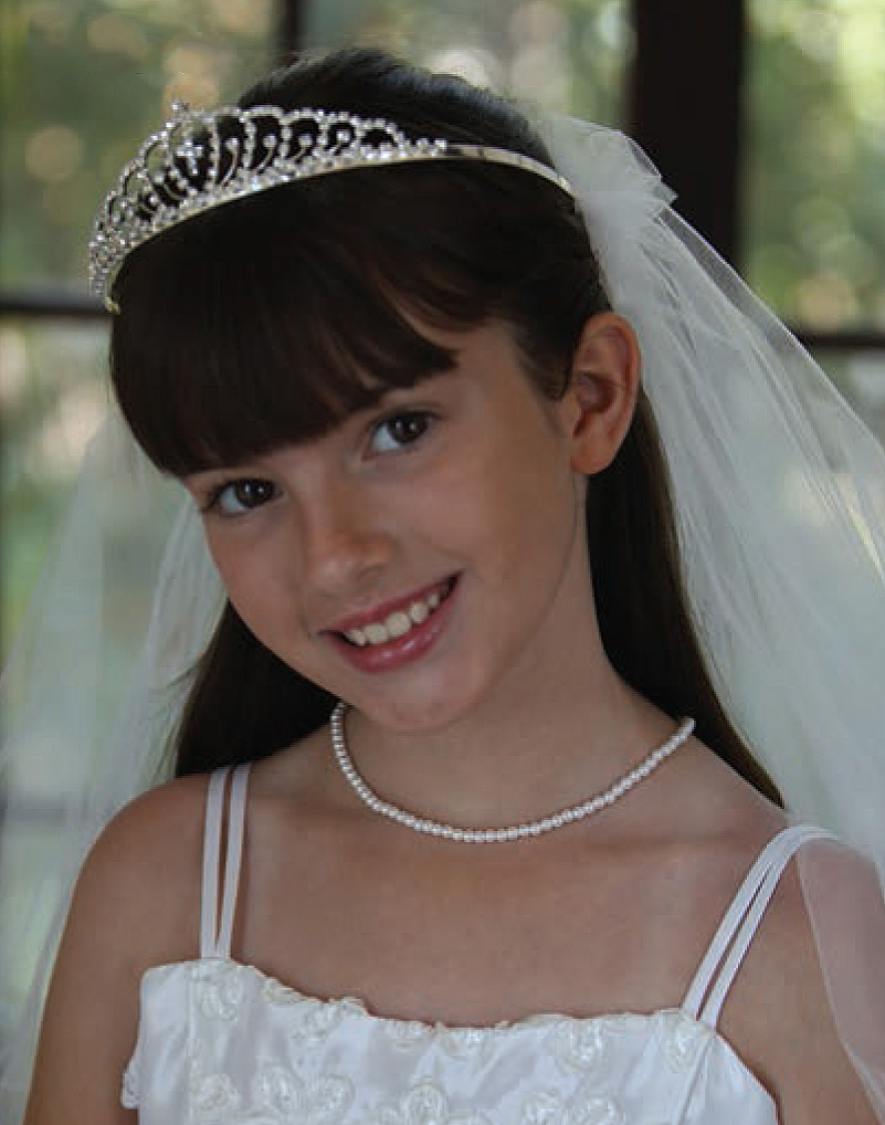 First Communion Veil with Rhinestone Tiara and Cross