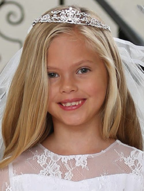 Rhinestone Tiara Crown Attached First Communion Veil