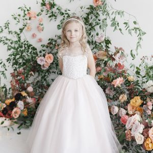 Floor Length White Holy Communion Gown with Beaded Bodice