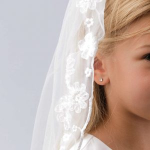 Holy Communion Veil with Lace Flowers