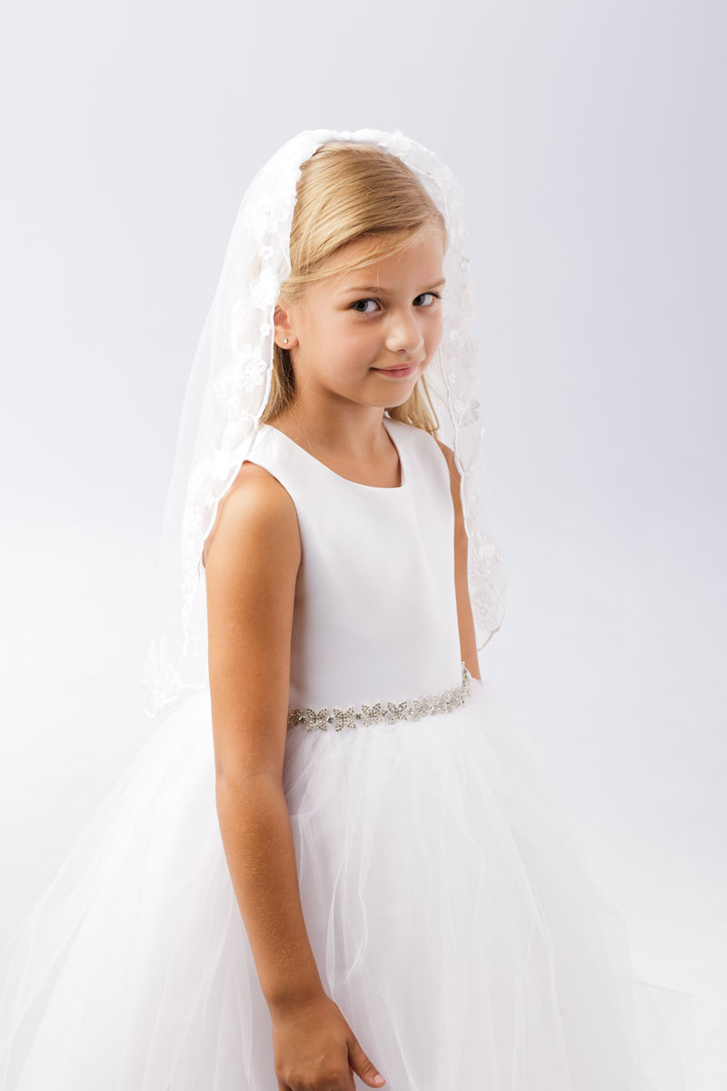 First Communion Veil with Lace Flowers