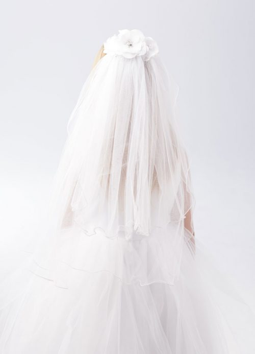 First Communion Comb Veil with Flowers