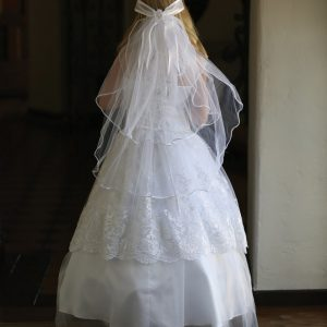 Full Length Lace First Communion Dress with Corset Back