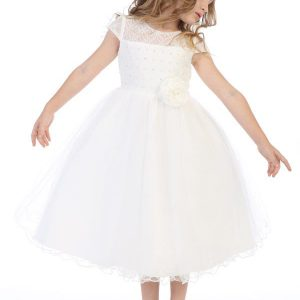 Girls First Communion Dress with Beaded Bodice
