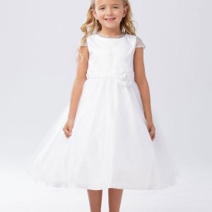 Girls Holy First Communion Dress with Cap Sleeves