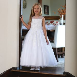 Girls First Communion Dress with Corset Back and Beading