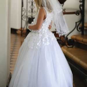 Girls First Communion Dress with Floral Appliques