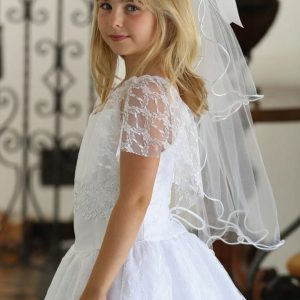 Girls First Communion Dress with Lace Flutter Sleeves
