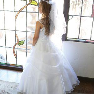 Girls First Communion Dress with Organza Draped Skirt