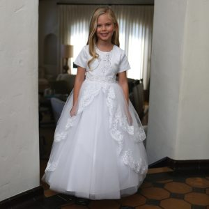 Girls Satin First Communion Dress with Lace Up Corset Back