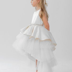 High Low First Communion Dress Tulle Skirt