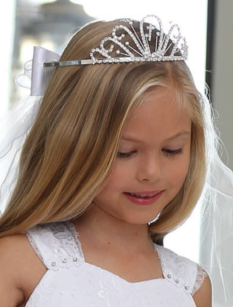 First Communion Veil with Embroidered Cross