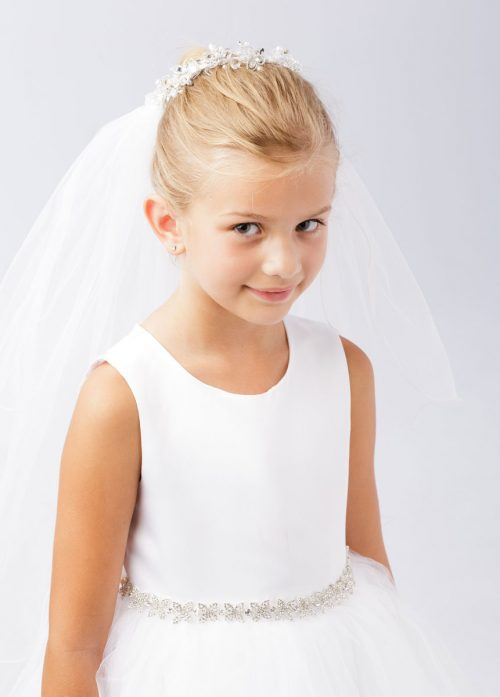 First Communion Bun Wrap Veil with Crystal Beading