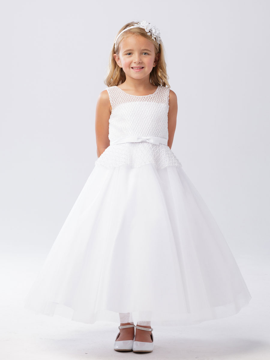First Communion Dress with Mesh Bodice
