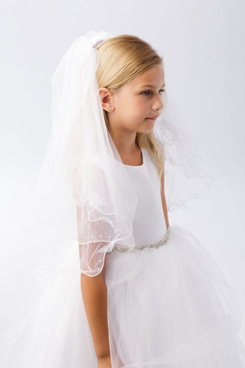First Communion Veil Pearl Accents Ruffled Edge